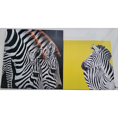 Stretched Canvas Zebra Prints - Lot of Two