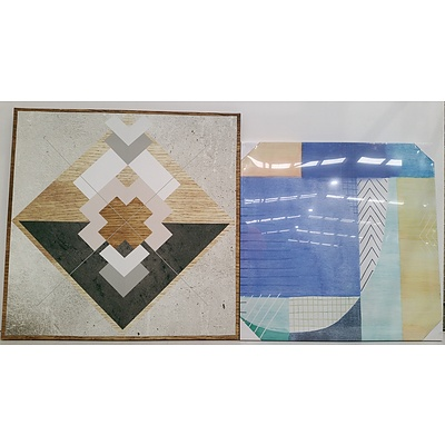 Stretched Canvas Abstract Prints - Lot of Two