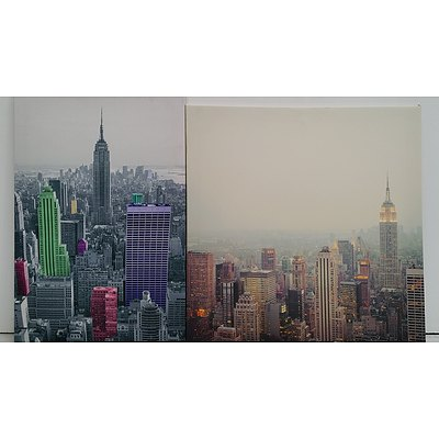 Stretched Canvas City Scape Prints - Lot of Two