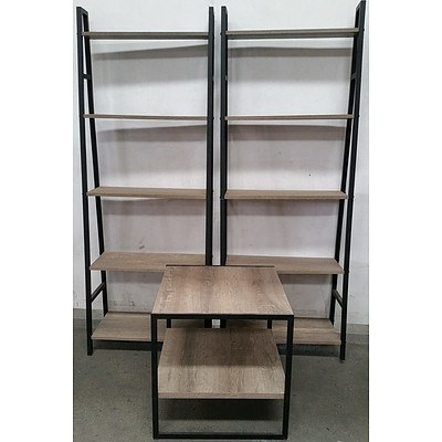 Two Shelving Units and Occasional Table