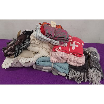 Selection of Various Bed and Lounge Throws - Lot of 16