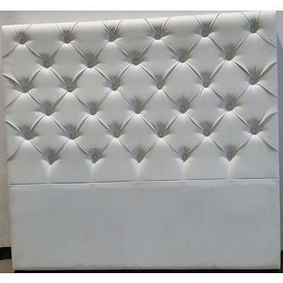 White Leather Double Bed Headboard