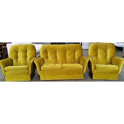 Vintage Retro Three Piece Lounge Suite