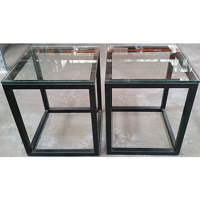 Pair of Glass Top Occasional Tables