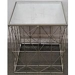 Mirrored Glass Geometric Occasional Table