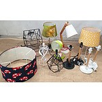 Assorted Desk Lamps, Shades and Bases