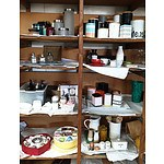 Selection of Cup & Saucer Sets, Cannisters, and Assorted Homewares