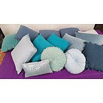 Selection of Teal and Blue Cushions - Lot of 14