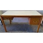 Solid Tasmanian Blackwood and Ash Desk with Ivory Vinyl Top
