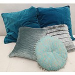 Teal and Green Cushions - Lot of Five