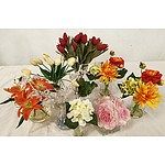 Selection of Artificial Flowers in Glass Vases - Lot of Nine