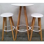 Contemporary Bar Table and Two Stools
