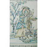 Indo-Persian School , Lovers in a Garden , W/Clr on Silk or Cotton