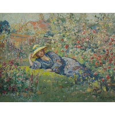 WATKINS John S (1866-1942), 'The Rose Garden', Oil on Panel
