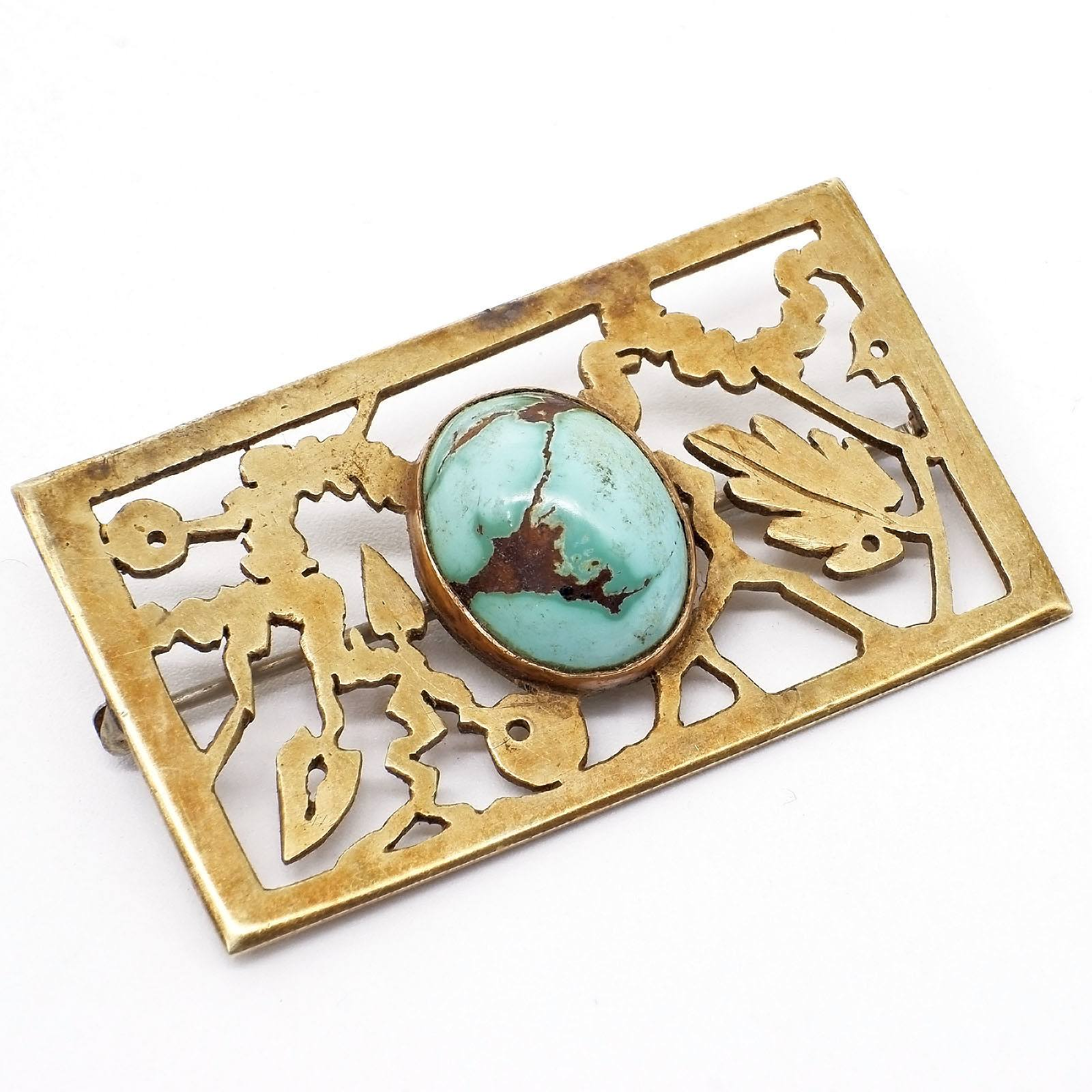 'Large 9ct Yellow Gold Square Pierced Floral Designed Brooch in Centre an Oval Cabochon of Turquoise, 12.5g'