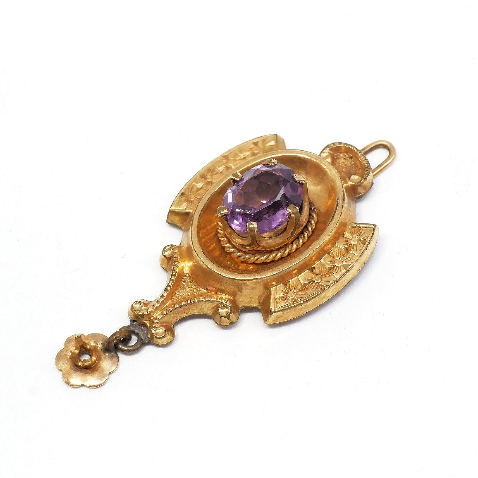 'Antique Rolled Golf Shield Shaped Pendant with Oval Amethyst Centre'