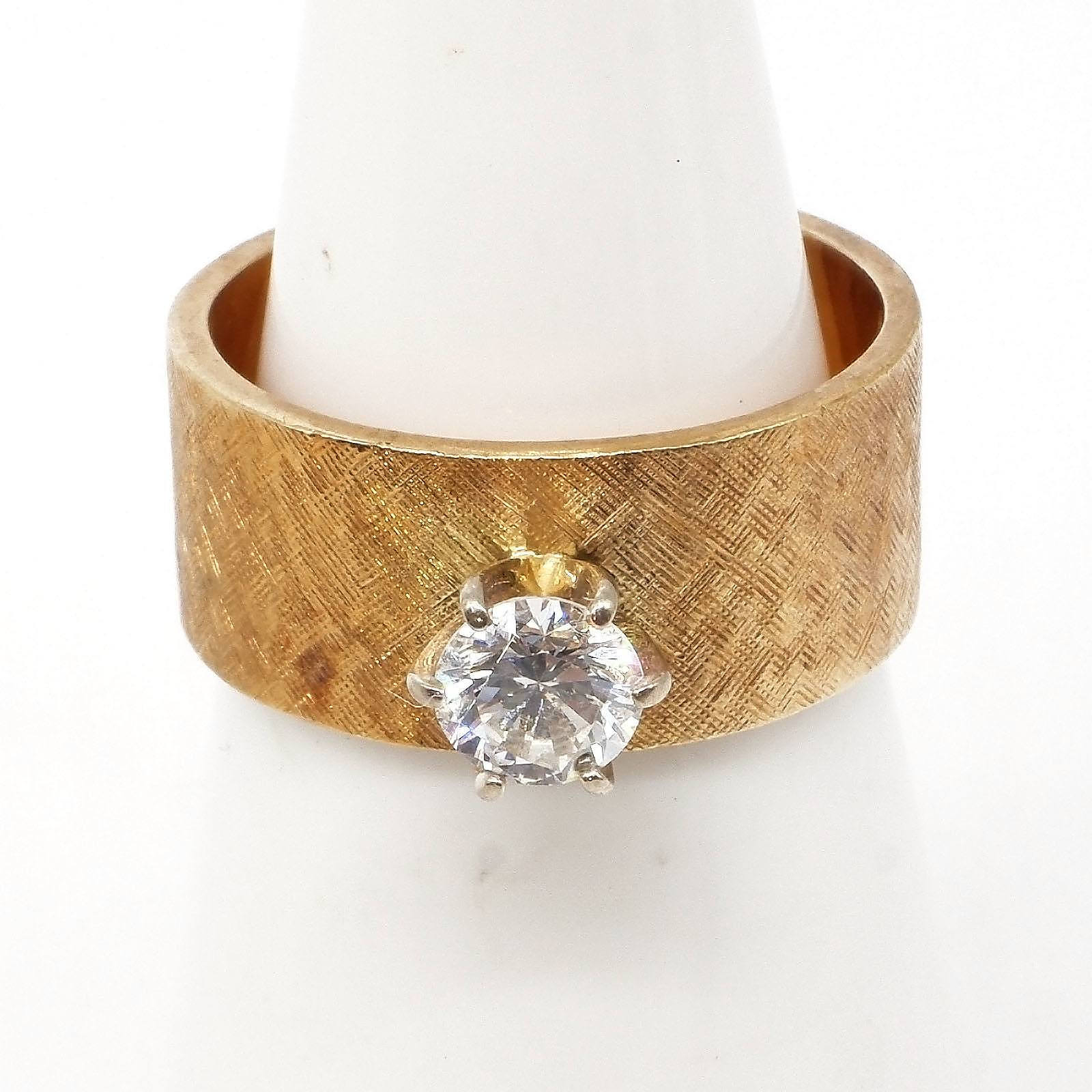 '14ct Yellow Gold Ring with Satin Finish and Raised White Gold Six Claw Setting for a Round Brilliant Cut Diamond, 6.4g'