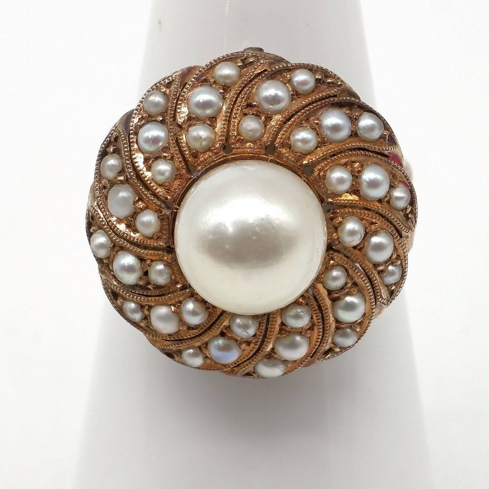 '14ct Yellow Gold Pearl Ring with Round Cluster of 36 Small Seed Pearls in Parve Setting in Swirl, 5.5g'