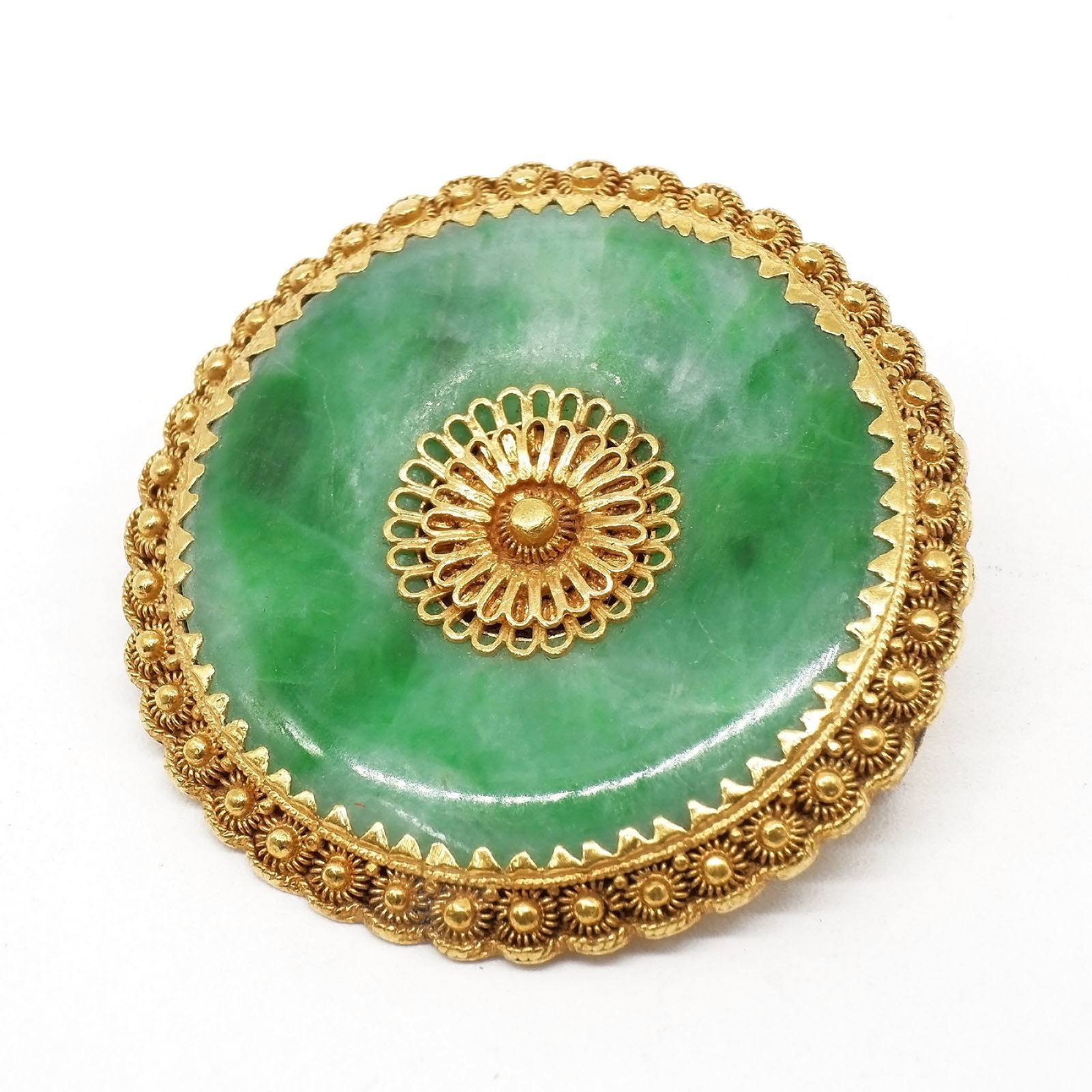 'Chinese 24k Yellow Gold and Apple Green Jadeite Pendant'