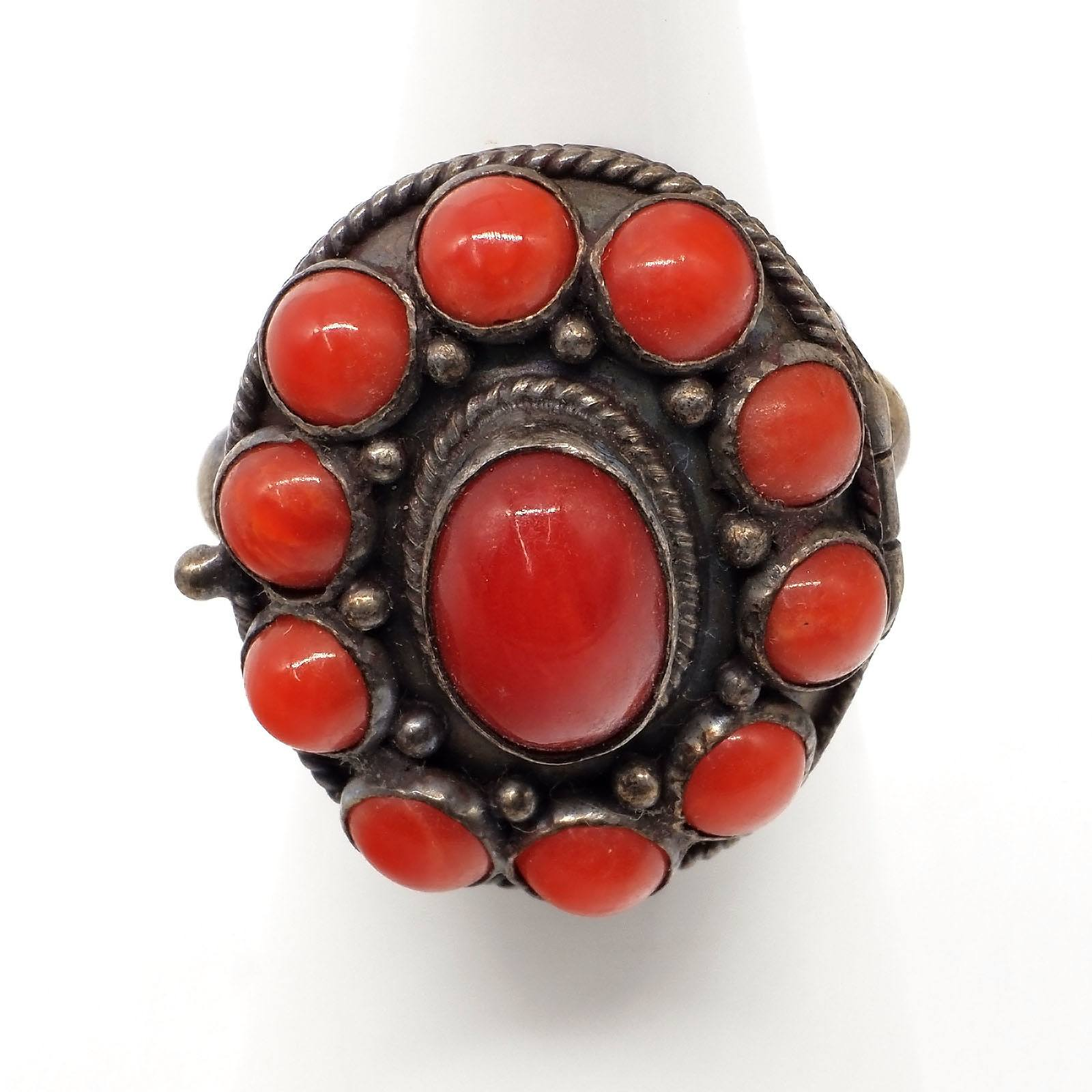 'Silver and Red Coral Cluster Ring'