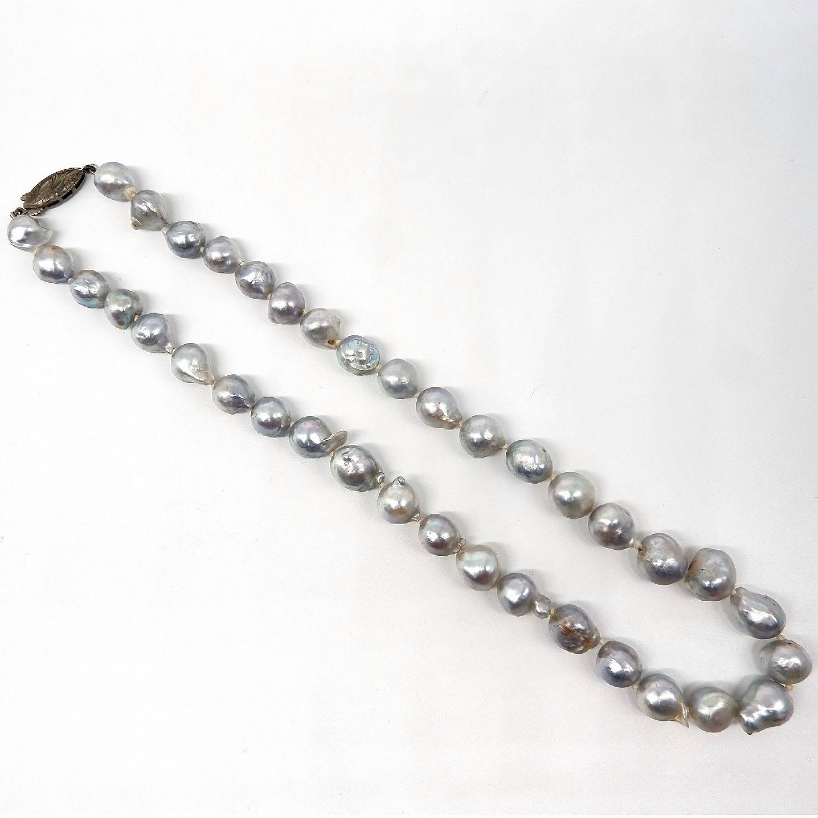 'Strand of Baroque Cultured Pearls, Silver with High Lustre, Akoya Type '