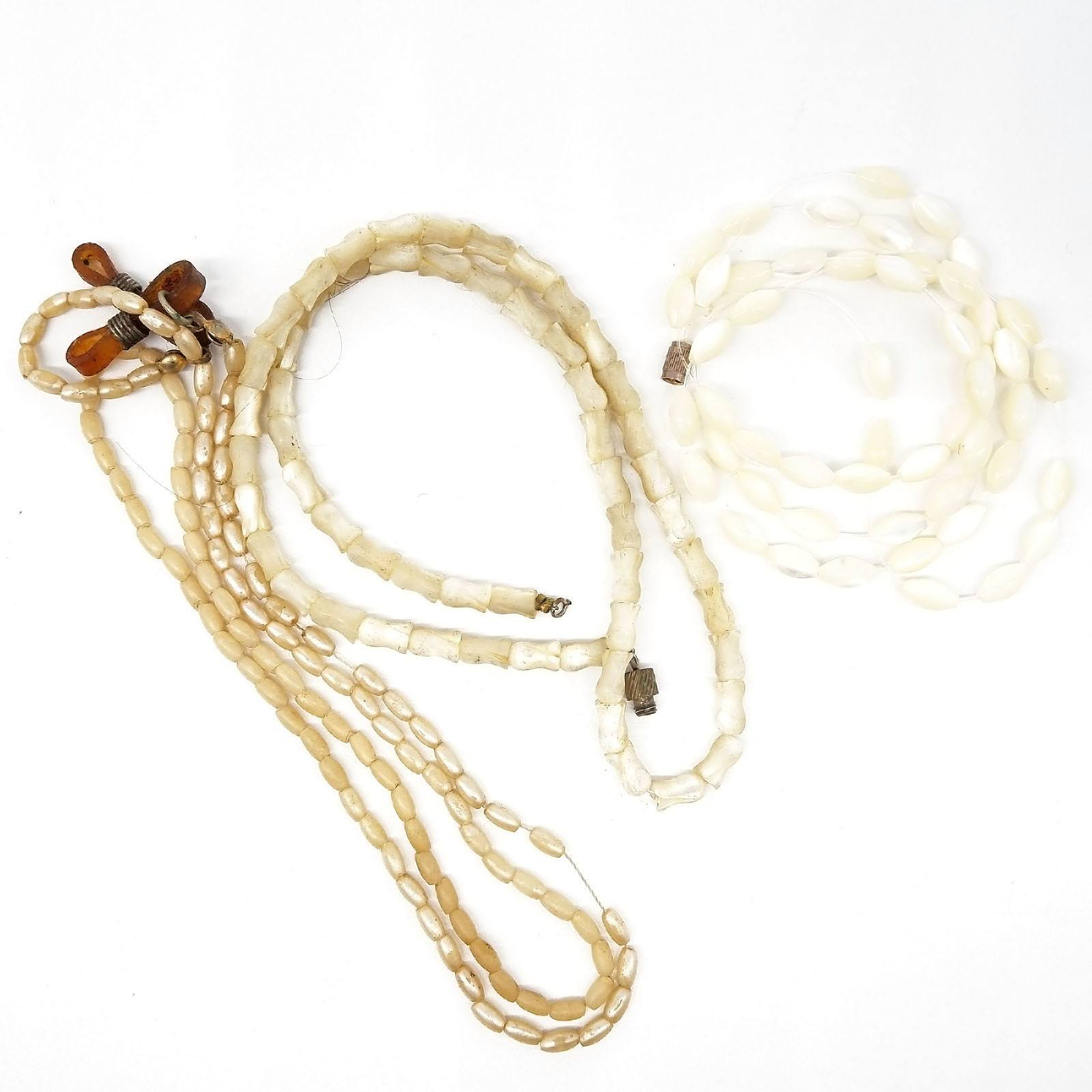 'Three Strands of Mother of Pearl Beads'