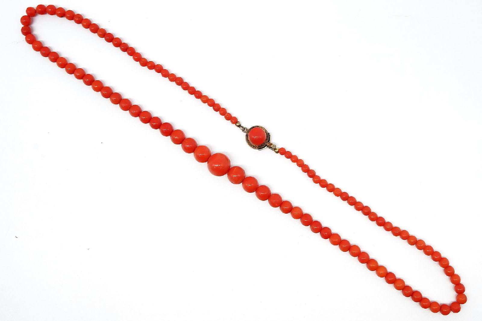 'Strand of Red Coral Beads, Graduated from 3.5-10mm'