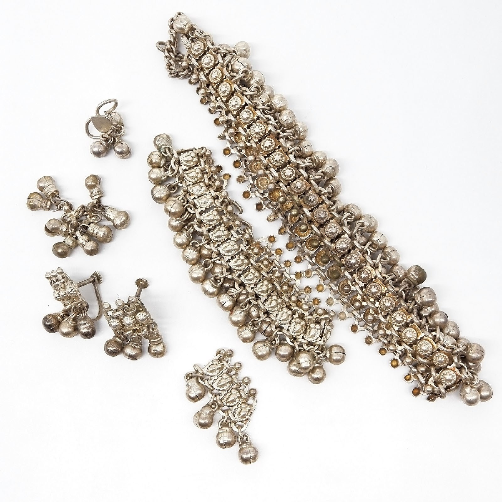 'Group of Indian Silver Metal Jewellery'