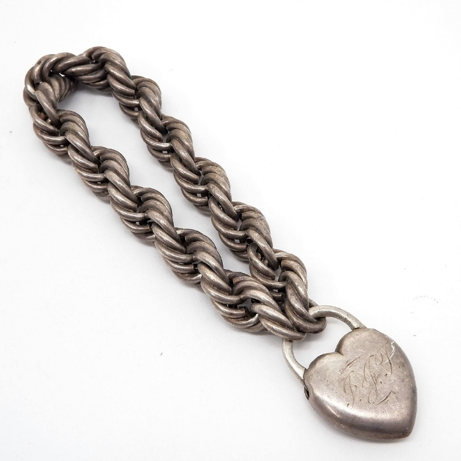 'Monogrammed Sterling Silver Hollow Twisted Rope Bracelet with Heart Lock'