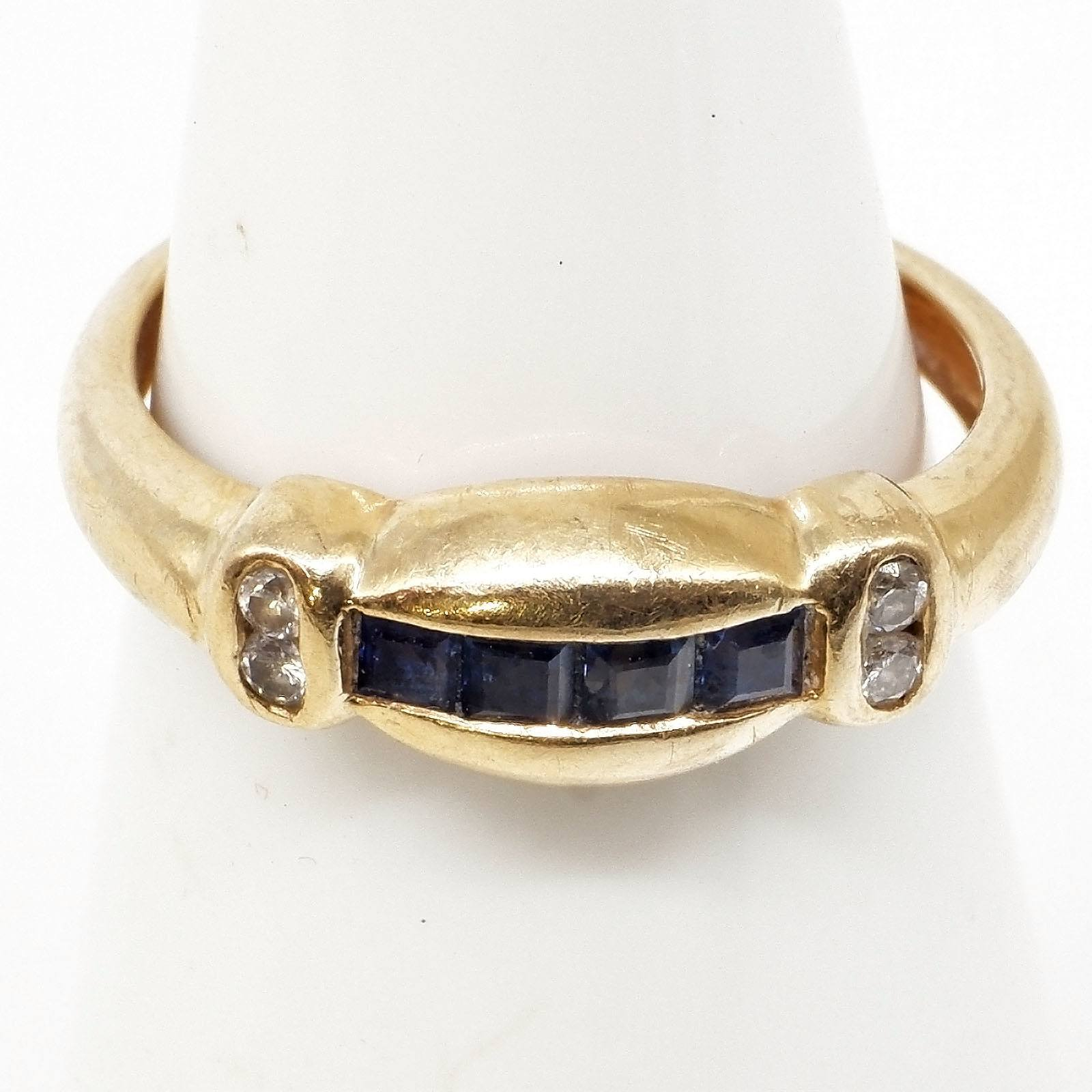 '14ct Yellow Gold Ring with Four Carre Cut Blue Sapphires and Four Round Brilliant Cut Diamonds, 2.1g'