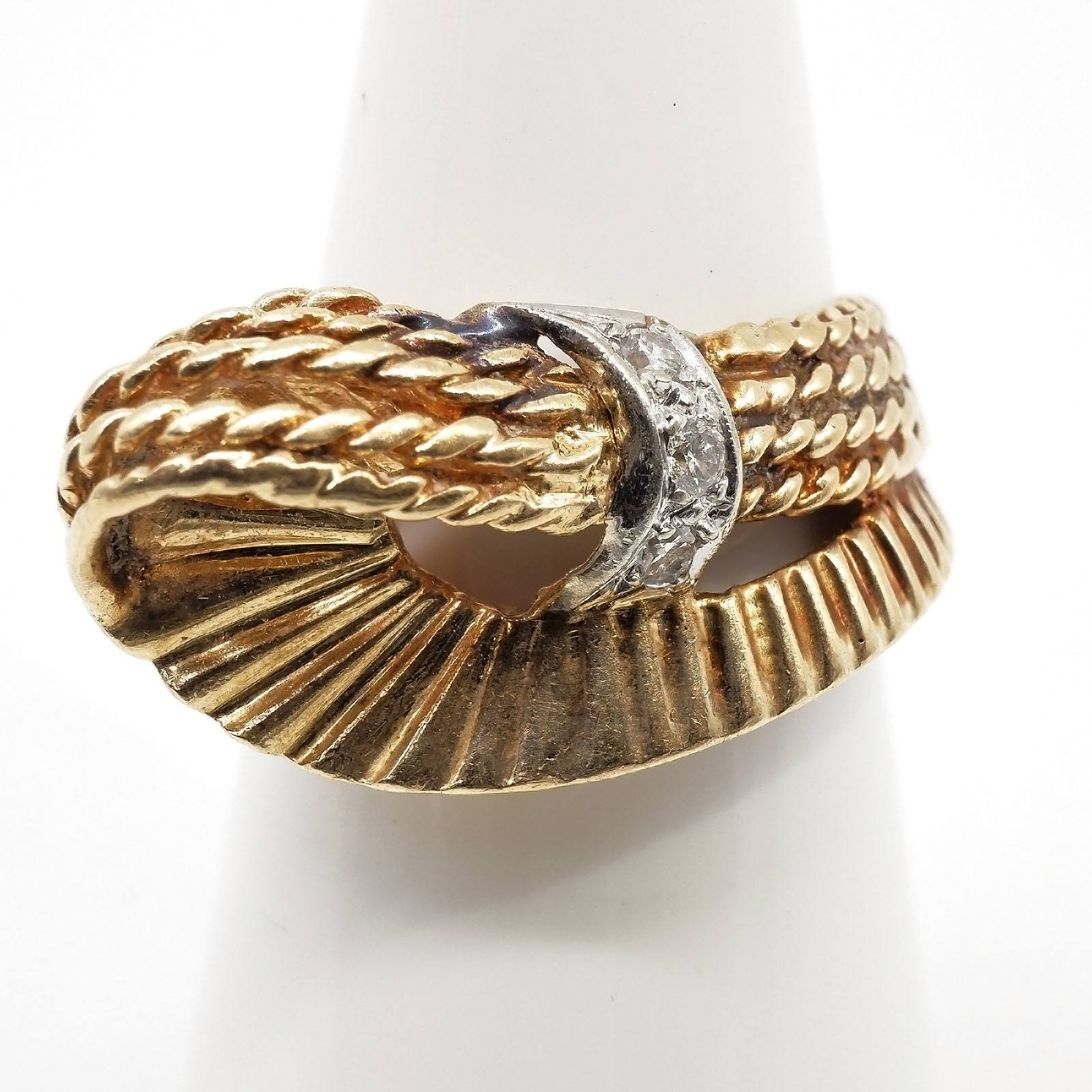 '14ct Yellow Gold Ring with Abstract Style Knot With a White Gold Sheet and Three Round Brilliant Cut Diamonds, 6.4g'