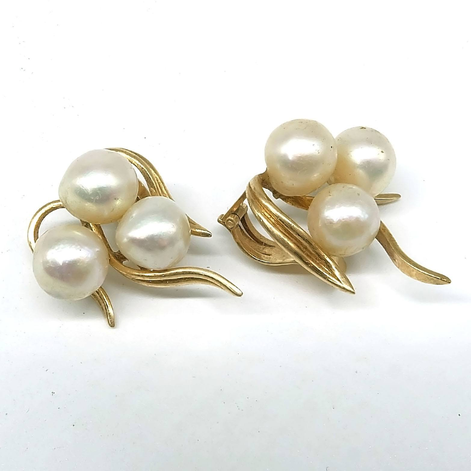 'Pair of 14ct Yellow Gold Cultured Pearl Clip on Earrings, 10.6g'