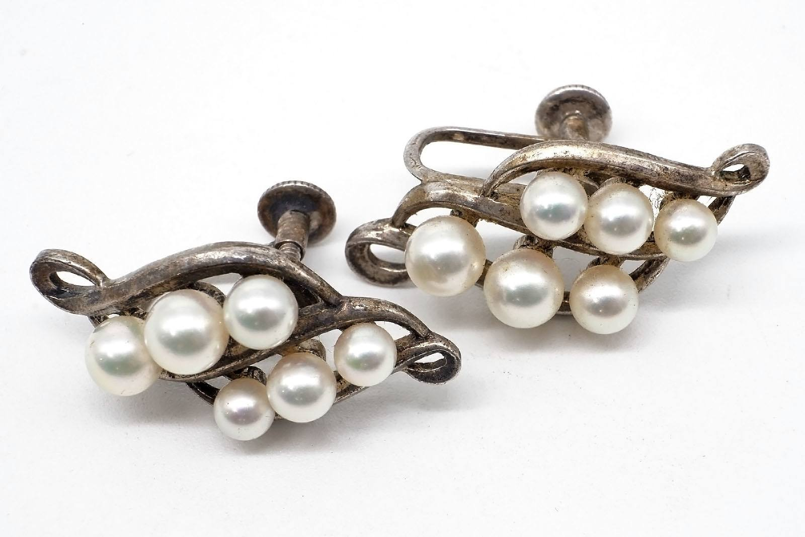 'Silver Mikimoto Screw on Earrings, with Six Round Cultured Pearls, White with Very High Lustre '