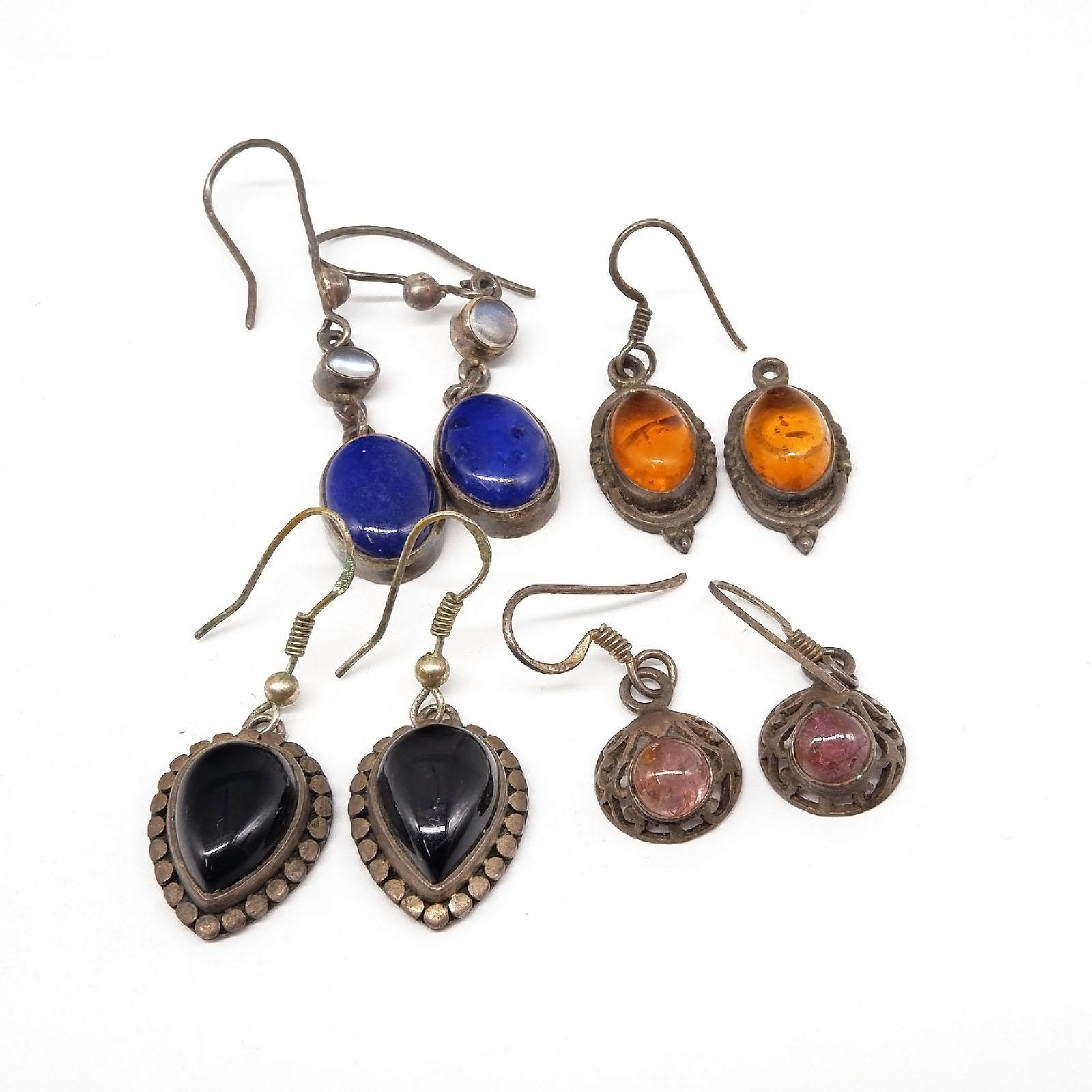 'Four Pairs of Silver Drop Earrings, Lapis Lazuli, Onyx, Amber and Pink Tourmaline '
