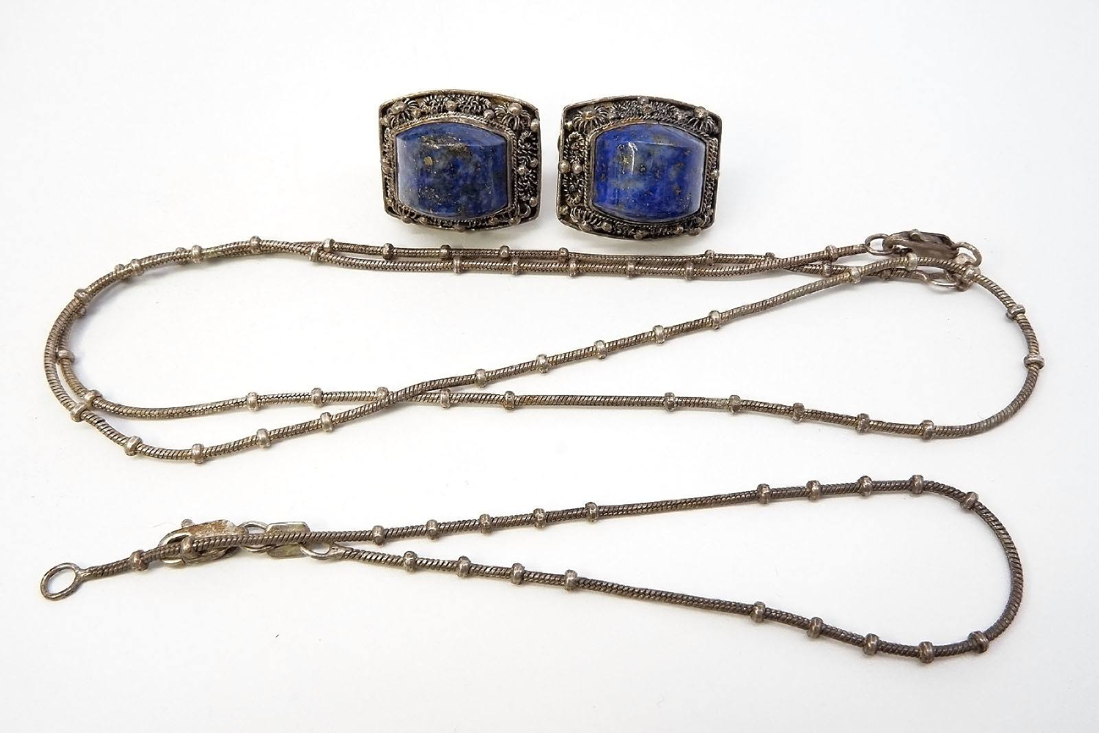 'Chinese Silver Screw on Earrings With Lapis Lazuli and a Silver Chain with Matching Bracelet '