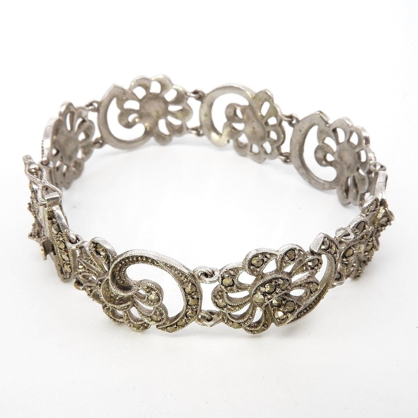 '835 Silver Bracelet Set with Marcasite Floral Design'