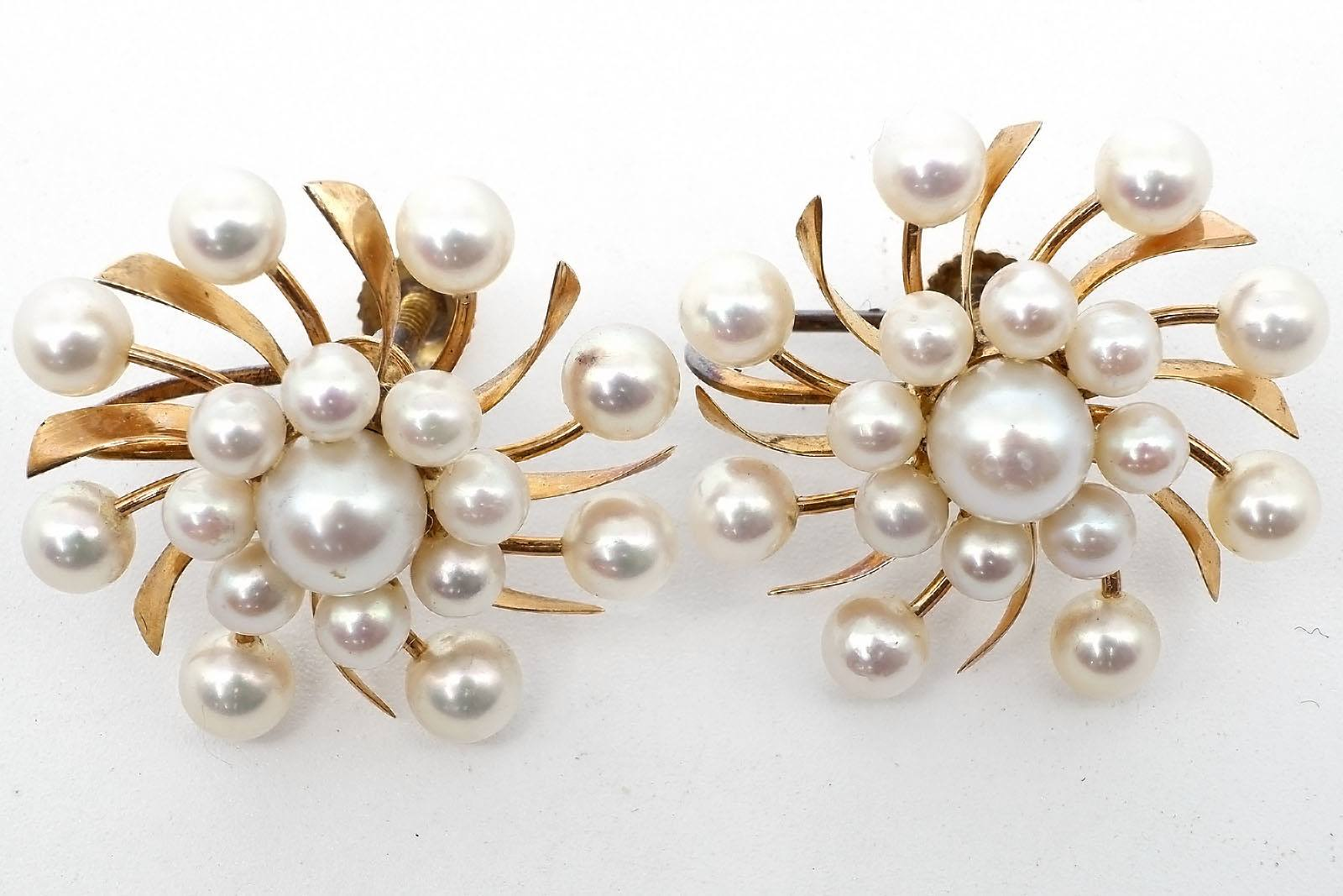 '14ct Yellow Gold Cultured Pearl Screw on Earrings, Each with Seventeen White with High Lustre Pearls, 7.1g'