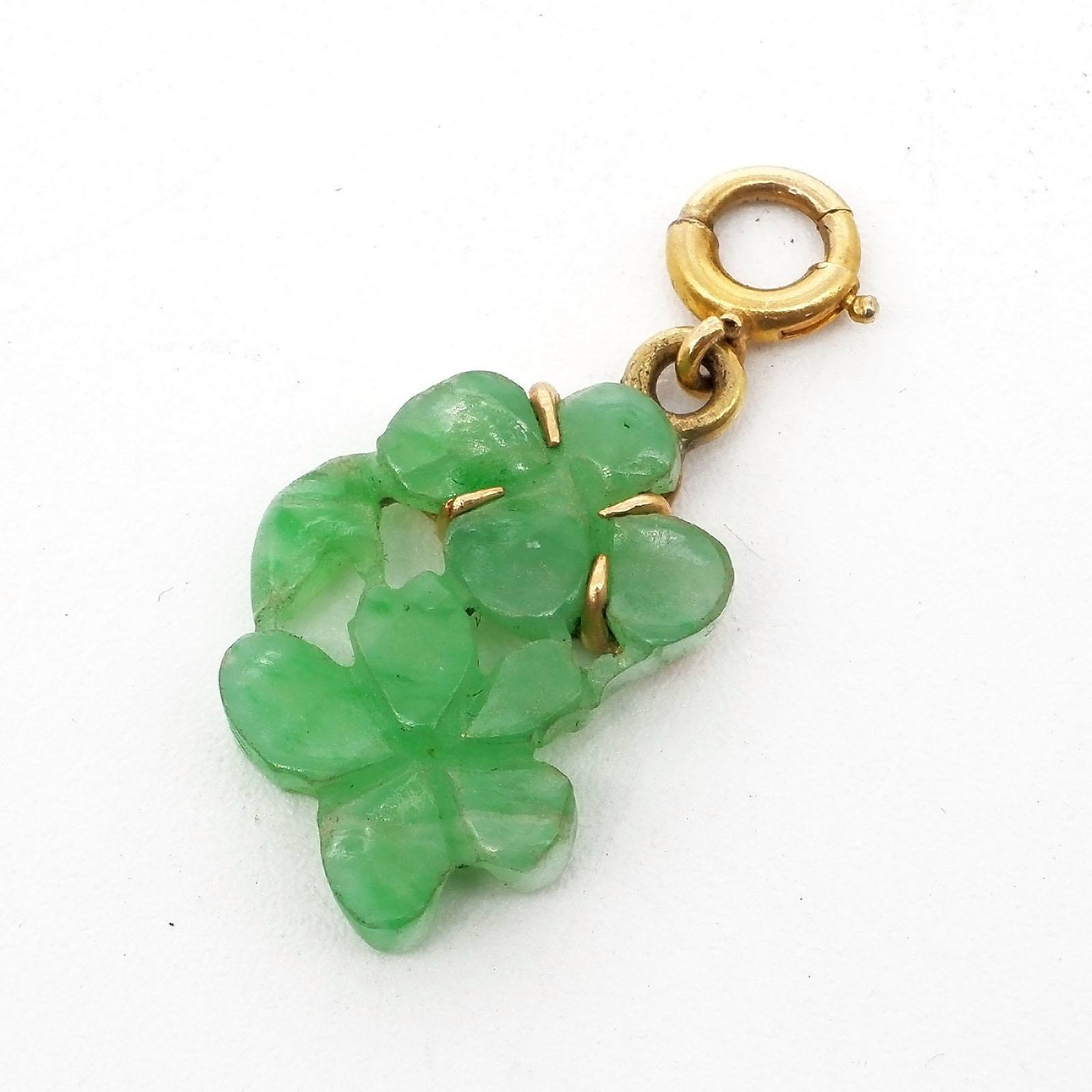 'Small Carved Jade Pendant in 14ct Yellow Gold Four Claw Setting'