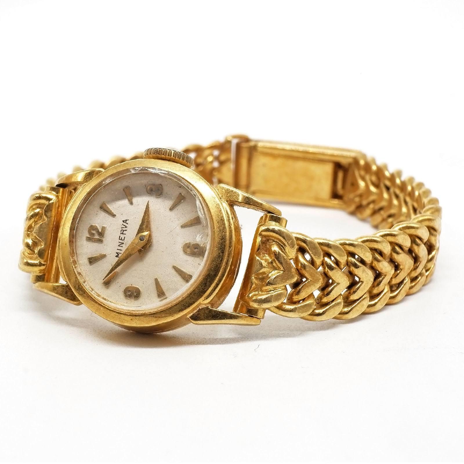 '18ct Yellow Gold Minerva Ladies Wrist Watch, 29g'