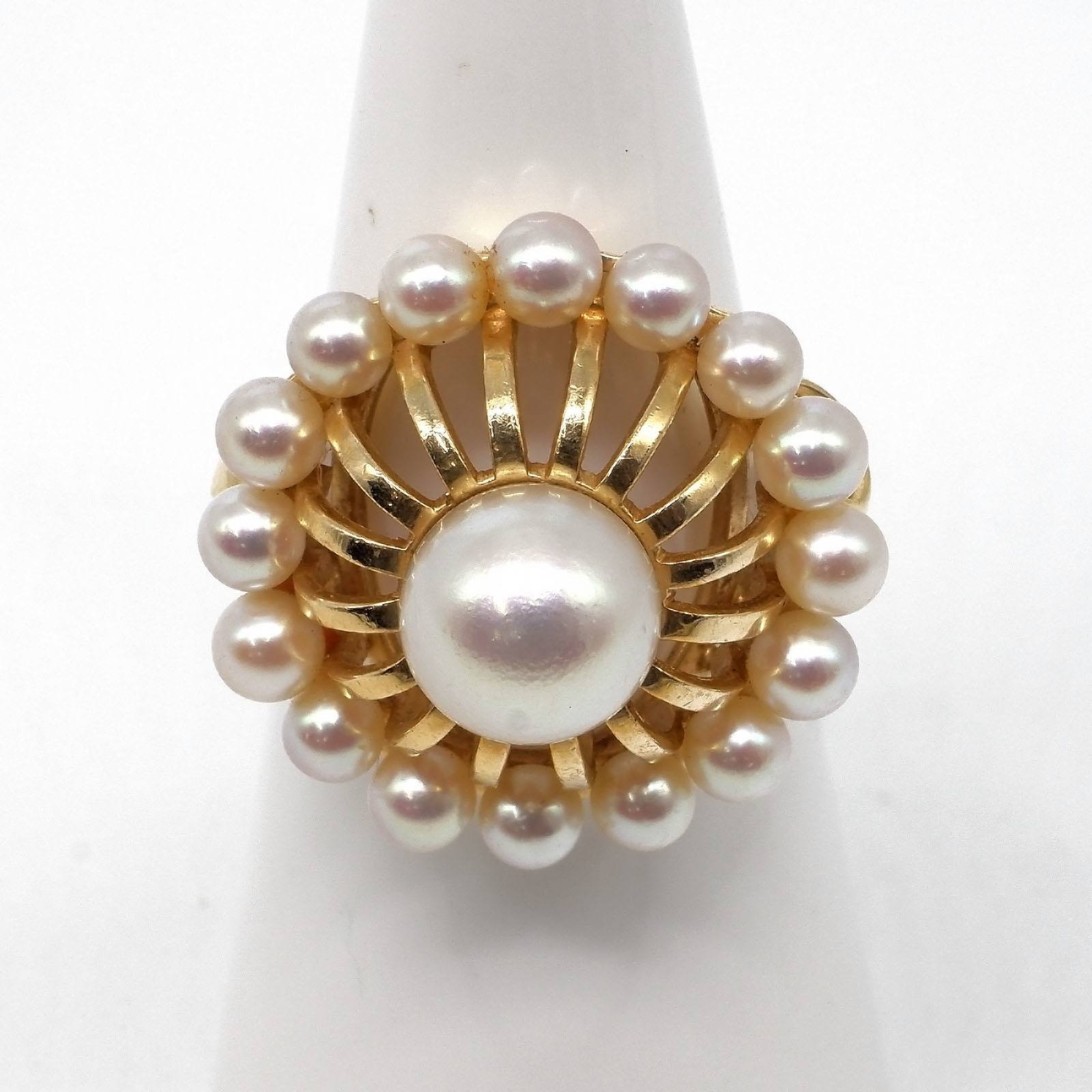 '14ct Yellow Gold Pearl Ring with White with High Lustre Pearl with Around Sixteen Round Pearls, 6.9g'