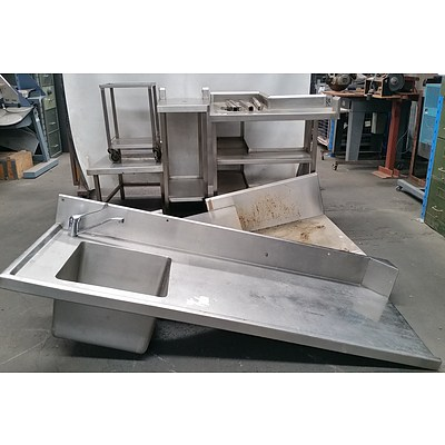 Selection of Custom Built Stainless Steel Commercial Kitchen Shelving - Lot of 11