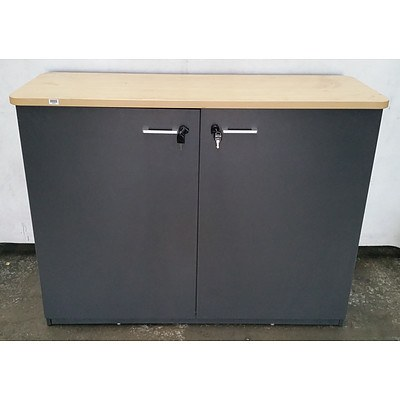 Grey Personal Storage Cabinet With Timber Top