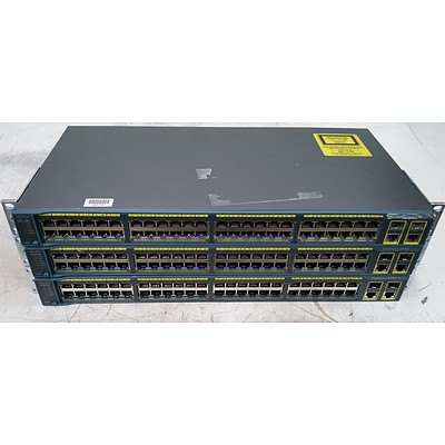 Cisco (WS-C2960-48TC-L) Catalyst 2960 Series 48-Port Managed Switch - Lot of Three