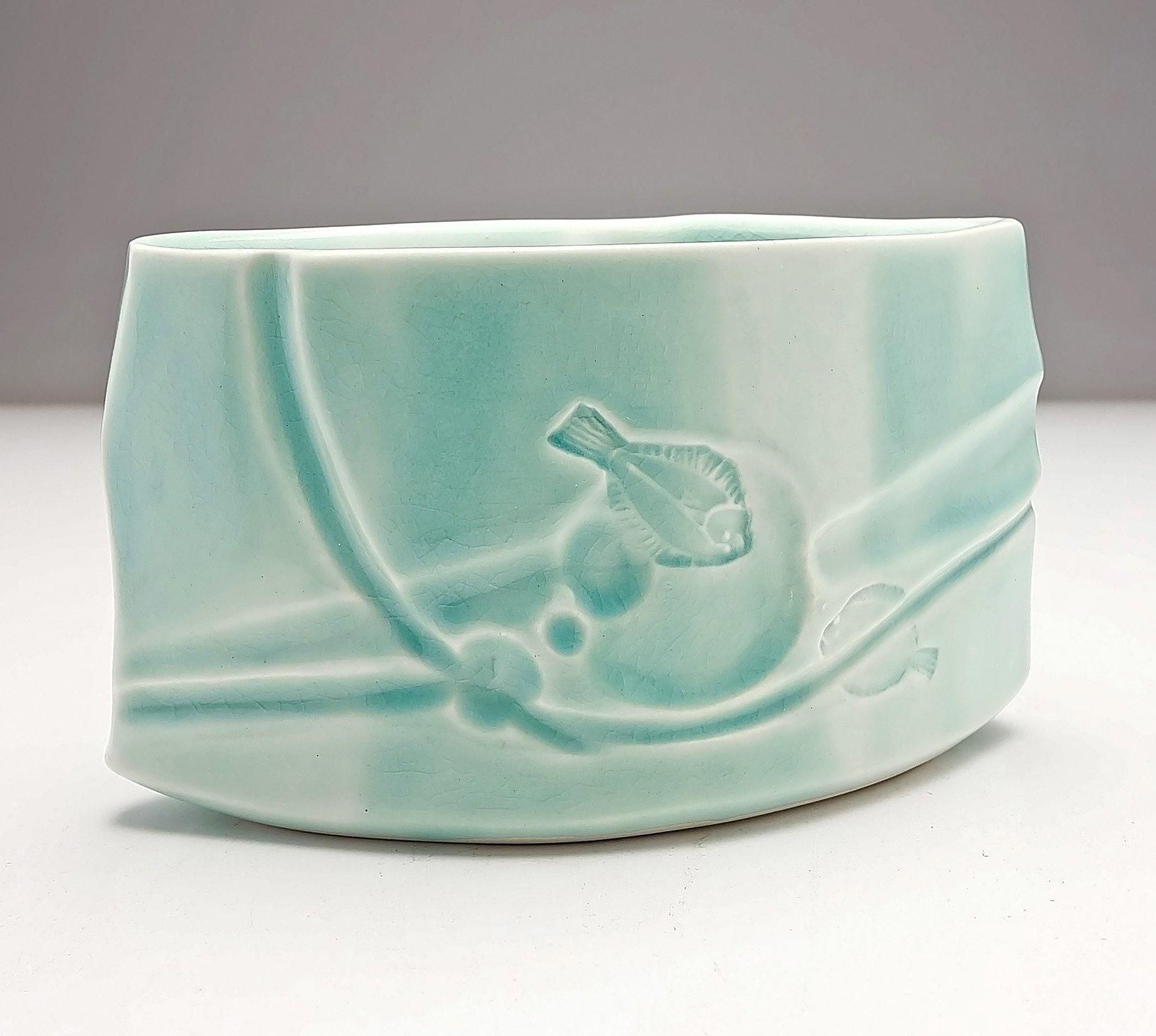 'Hiroe Swen (1934-) Celadon Glazed Ceramic Vase with Impressed Fish'