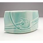 Hiroe Swen (1934-) Celadon Glazed Ceramic Vase with Impressed Fish