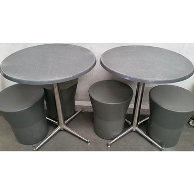 Two SM Cafe Tables and Nine SM Cafe Stools