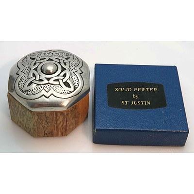 Celtic Pewter & Timber Jewel/Trinket Box