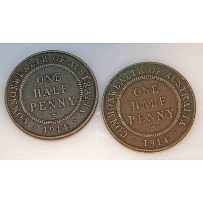 Australia Halfpennies King George V, 1914 London Mint, 1914 Birmingham Mint