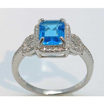 "Sterling Silver """"Blue Topaz"""" & white colour CZ Ring"