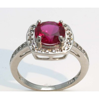 Sterling Silver Ring - Synthetic Ruby with CZ Highlights
